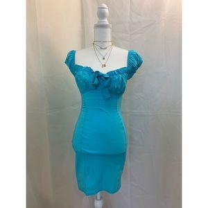 Aqua Woven Bardot Tie Front Bodycon Dress